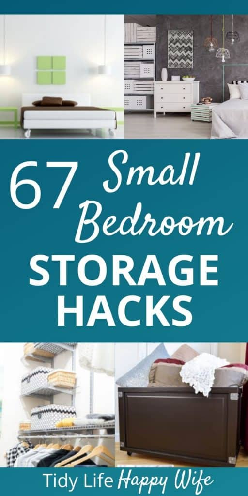 closet organizer, rolling bin,  dresser, storage crates, and pendant lighting are bedroom storage hacks for small spaces