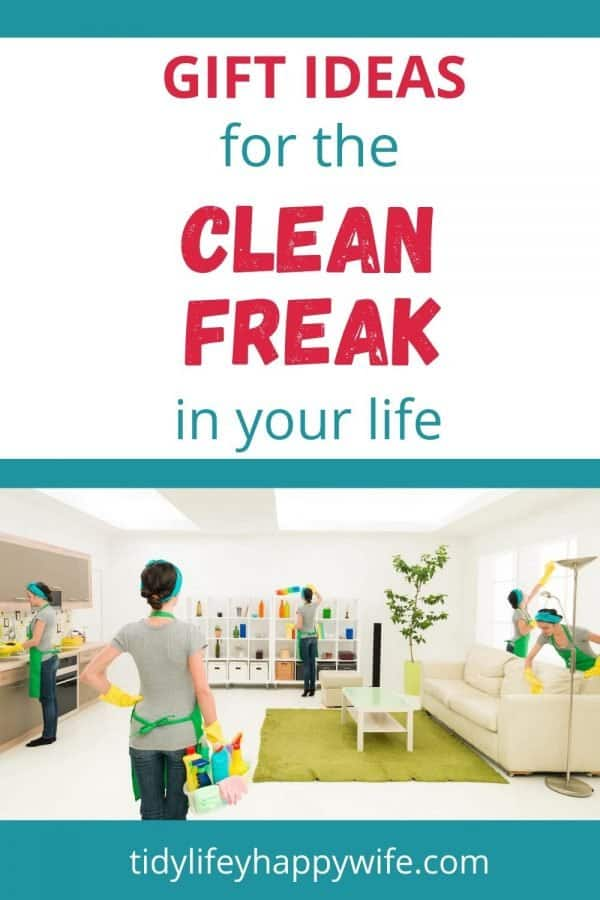 Clean freak performing several different cleaning tasks