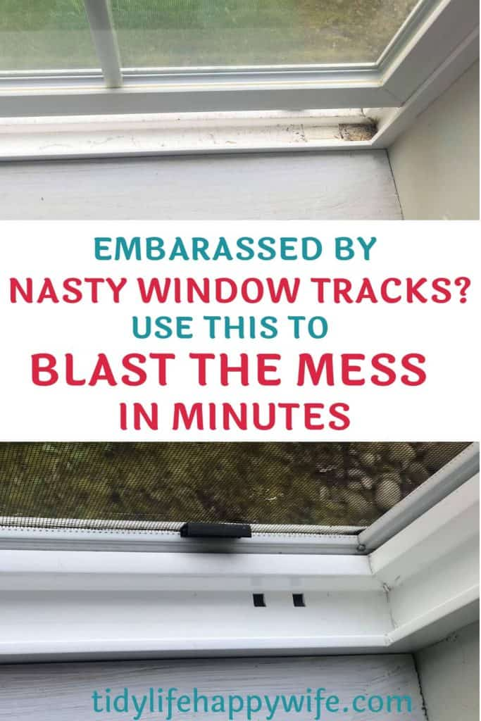 Dirty and clean window track cleaning hack