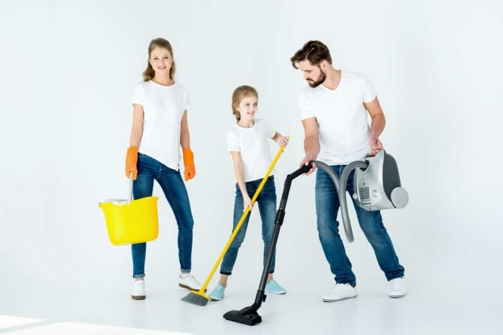 family cleaning together