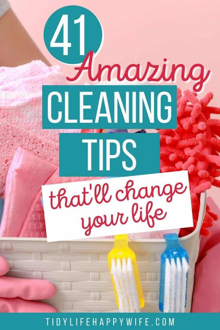 Wish you knew the best cleaning hacks, tips, and tricks to get your house clean quick? Here are some hacks to clean the toughest messes. Household cleaning tips you can use in every room of your home. Professional cleaning hacks for the bathroom, bedroom, and kitchen including how to deep clean the garbage disposal, shower head, and moldy grout. via @Tidylifehappywife