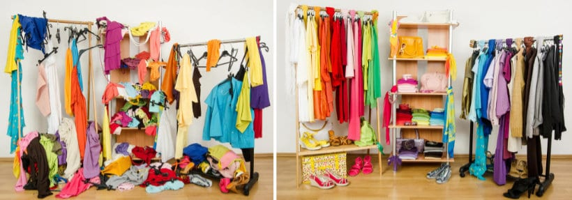 before and after pictures of a cluttered closet