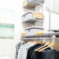 adjustable closet system and storage bins in the bedroom