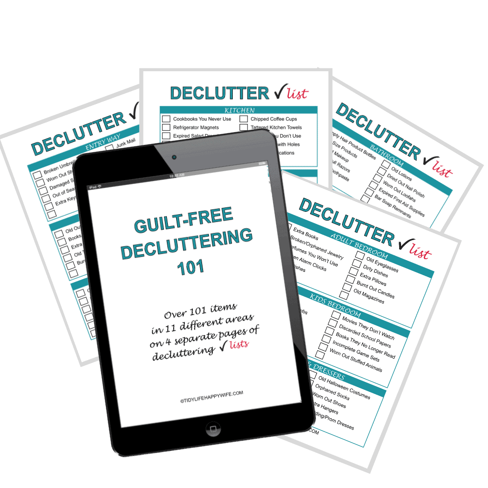 printable decluttering checklist of over 100 items you can declutter without feeling guilty