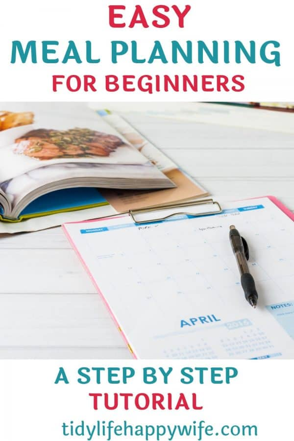 Recipe book and calendar being used during an easy meal planning session for beginners