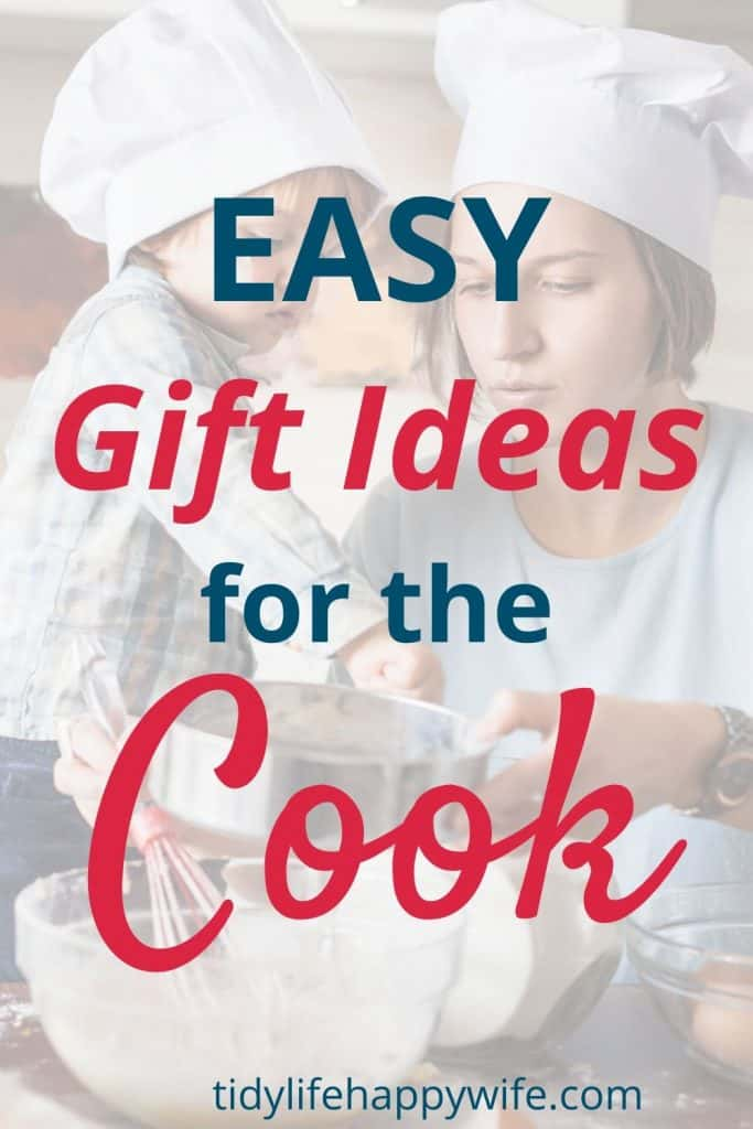 Mother and child wearing chef's hats and cooking with the perfect gifts they received