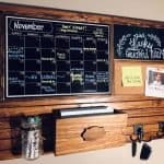 Gorgeous family command center with chalkboard, corkboard, mail slot and hooks from Harmony Boards