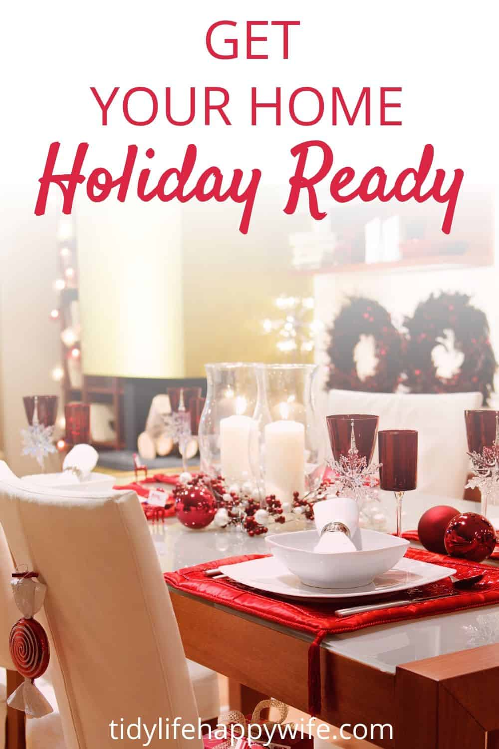dining room table setting ready for the holidays