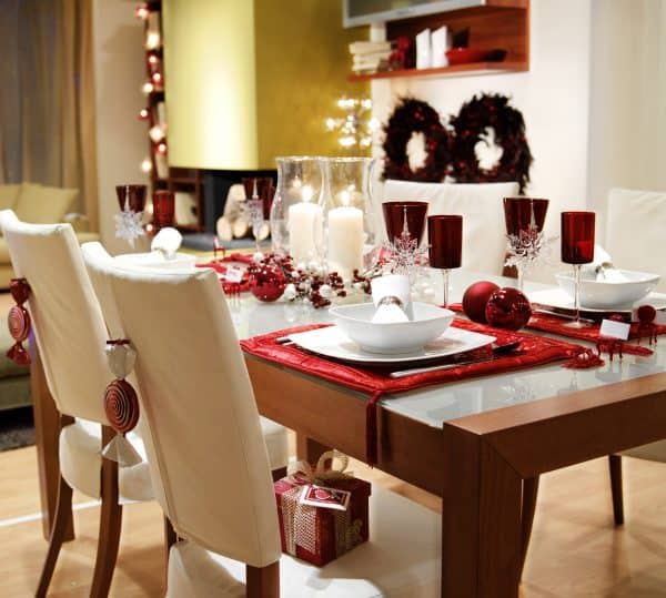 Holiday table setting ready for company