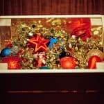 Storage box full of Christmas decorations
