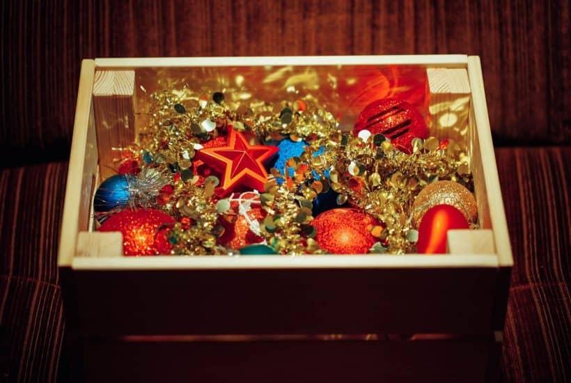 Storage box full of Christmas decorations