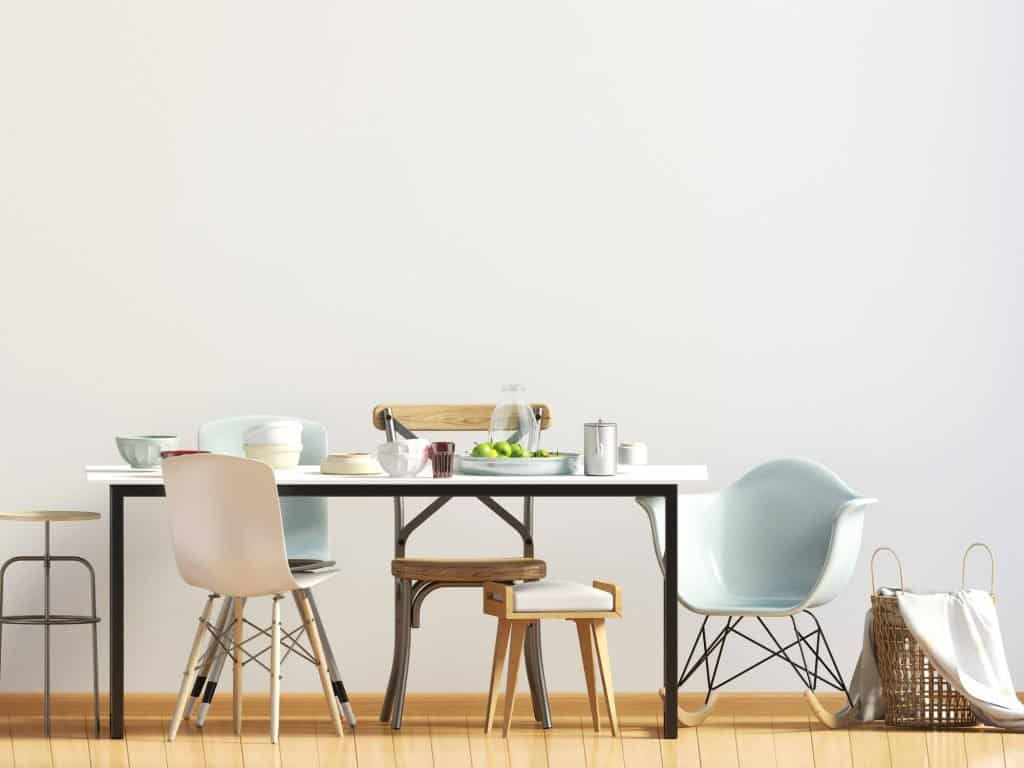 Kitchen table with dishes and gadgets