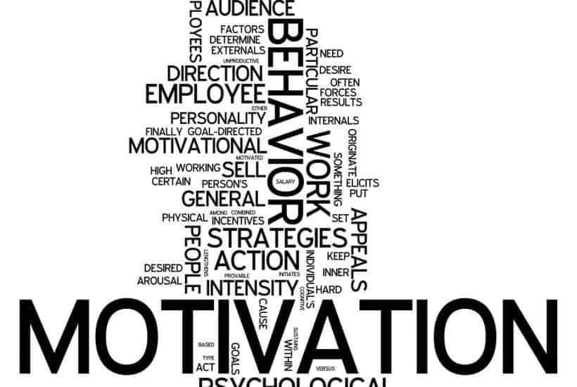 Motivation word art, behavior, reward, incentives, organization, goal, need, desire, direction.