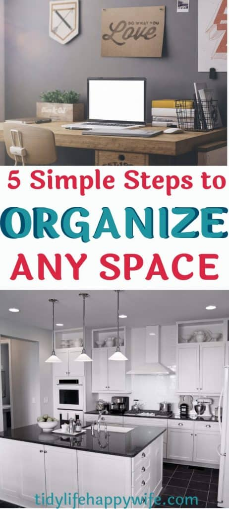 organized kitchen and office using 5 simple steps