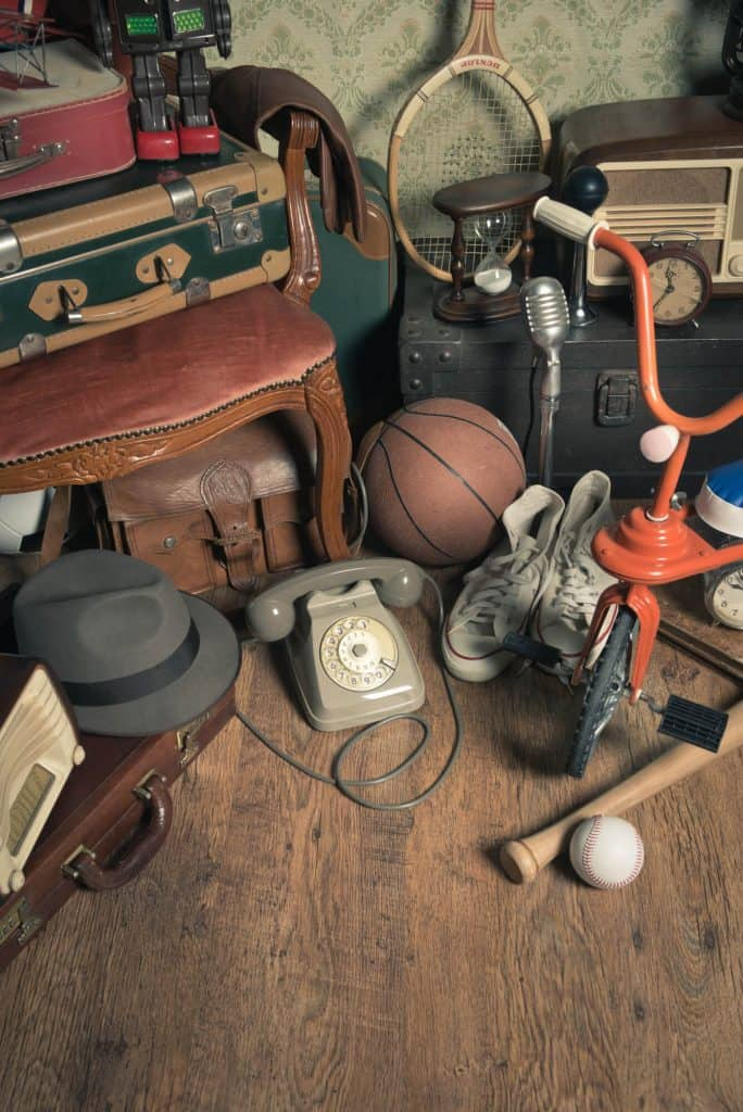 baseball, bat, tricycle and other sentimental clutter items