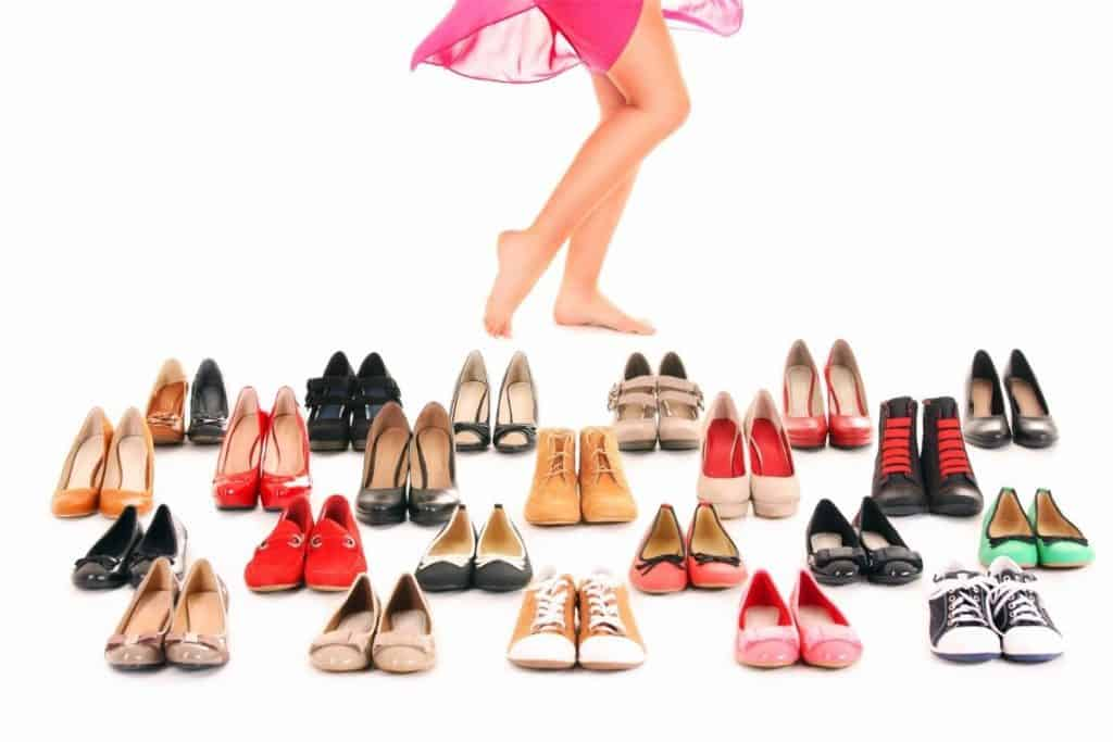 woman decluttering her shoes
