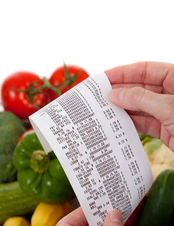 groceries and receipt