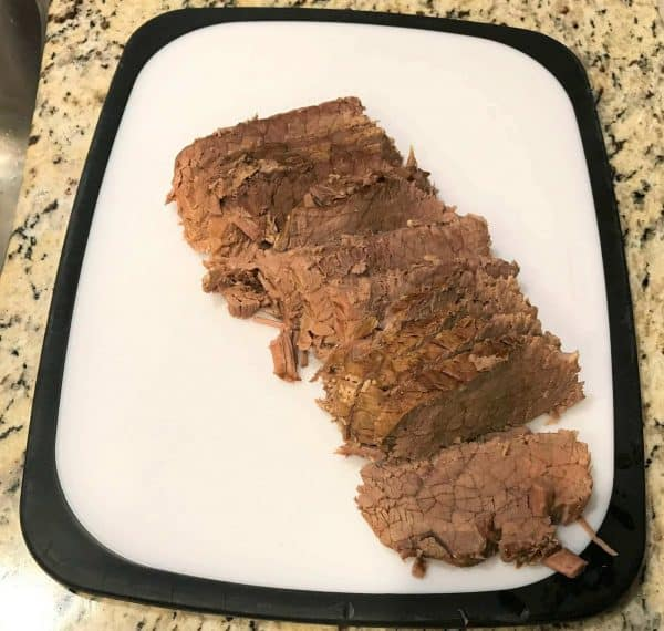 Thick slices of roast beef for easy slow cooker french dips.