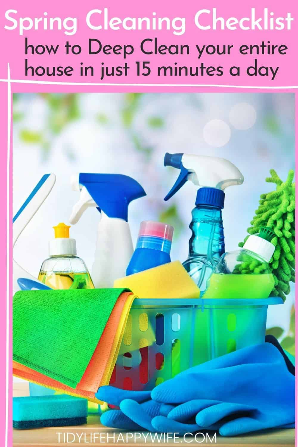 Intimidated by all of the deep cleaning you need to do to spring clean your house? Here's an easy spring cleaning checklist to help you get it all done. Tips for what to deep clean in each room of your home, which products to use, and tricks for following an organized schedule with a printable checklist to ensure you've cleaned everything in the bedroom, bathroom, and kitchen. Ideas and hacks for how to crush your spring cleaning schedule. | deep cleaning | free checklist | printable checklist via @Tidylifehappywife