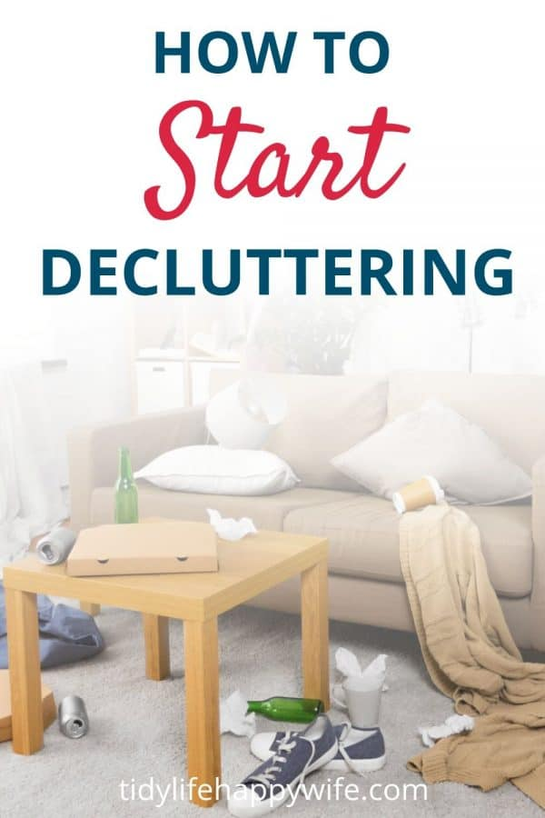 A living room so cluttered you don't know how to start decluttering