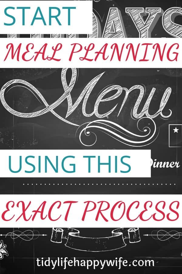 Menu for meal planning