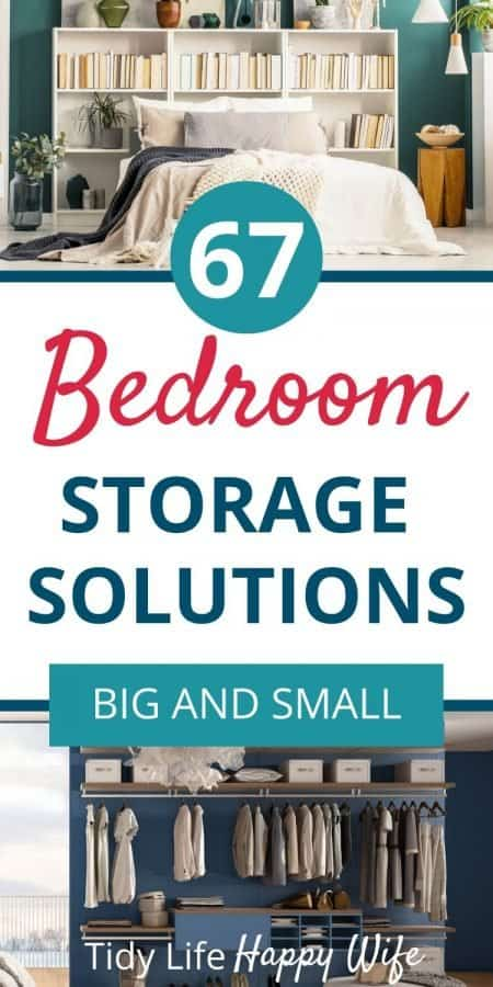 Bookcase headboard and wall closet system are 2 bedroom storage hacks to add space
