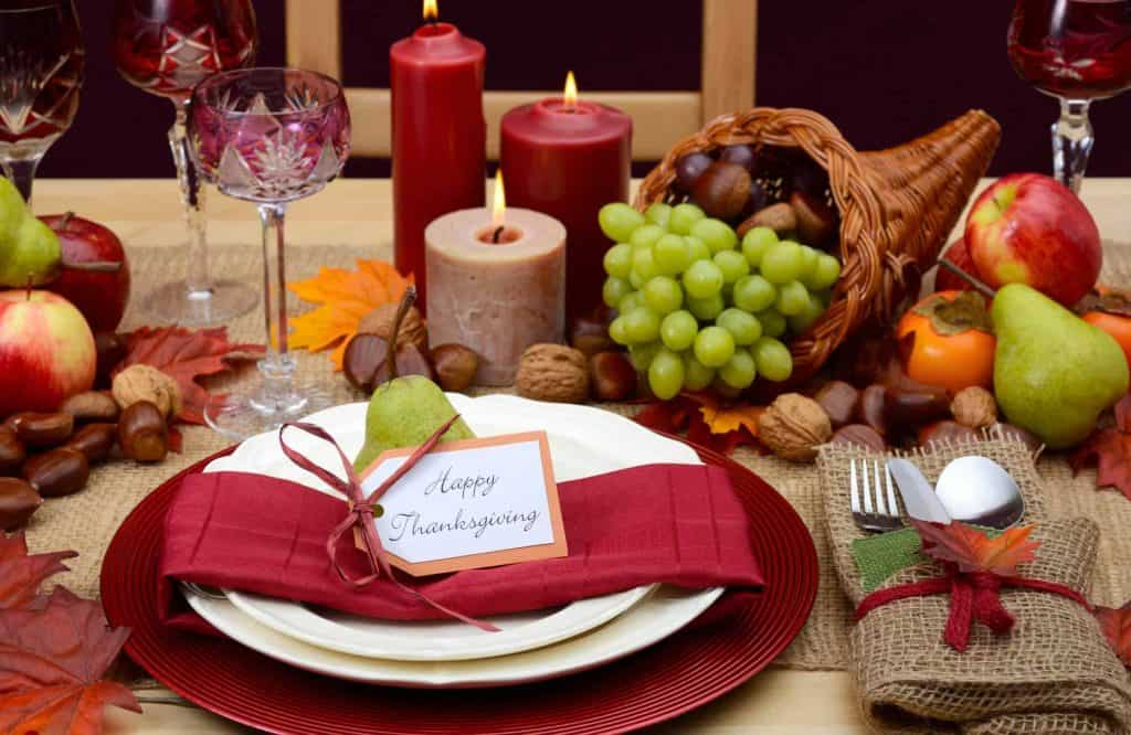 Table set ahead of time for Thanksgiving dinner