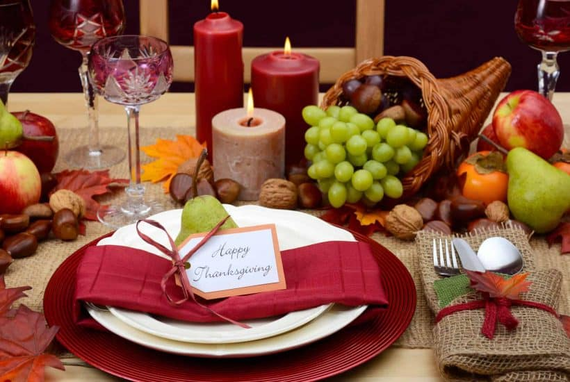 Thanksgiving table and place settings set ahead of time for a stress-free Thanksgiving