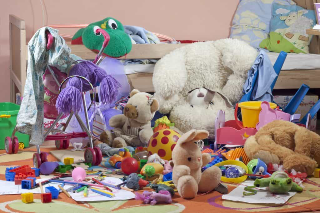 a cluttered mess of kids toys that could benefit from a quick decluttering task