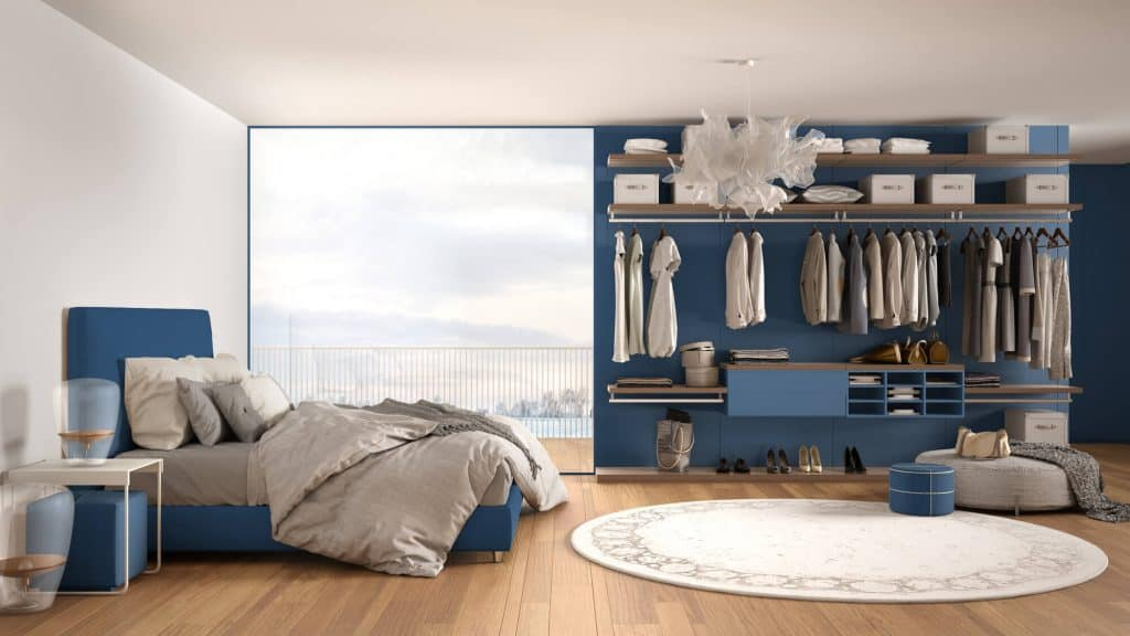 open bedroom with wall closet