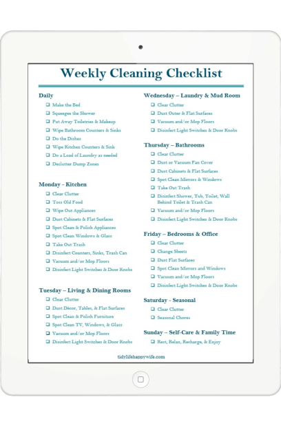 Weekly cleaning checklist organized by day and room