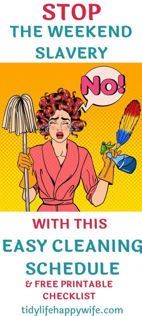Woman with mop and duster crying about feeling like a cleaning slave