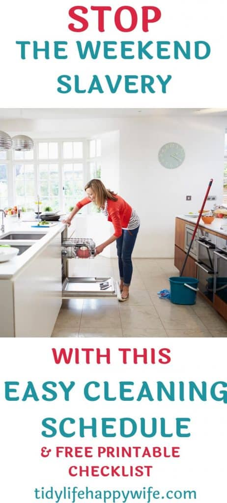 Woman unloading dishwasher during her weekly cleaning schedule.