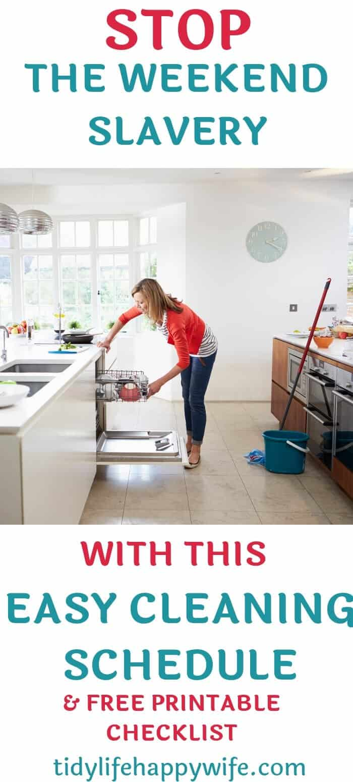 Woman unloading dishwasher as part of weekly cleaning schedule.