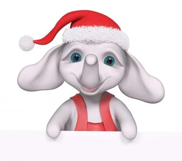 White Elephant with Christmas hat