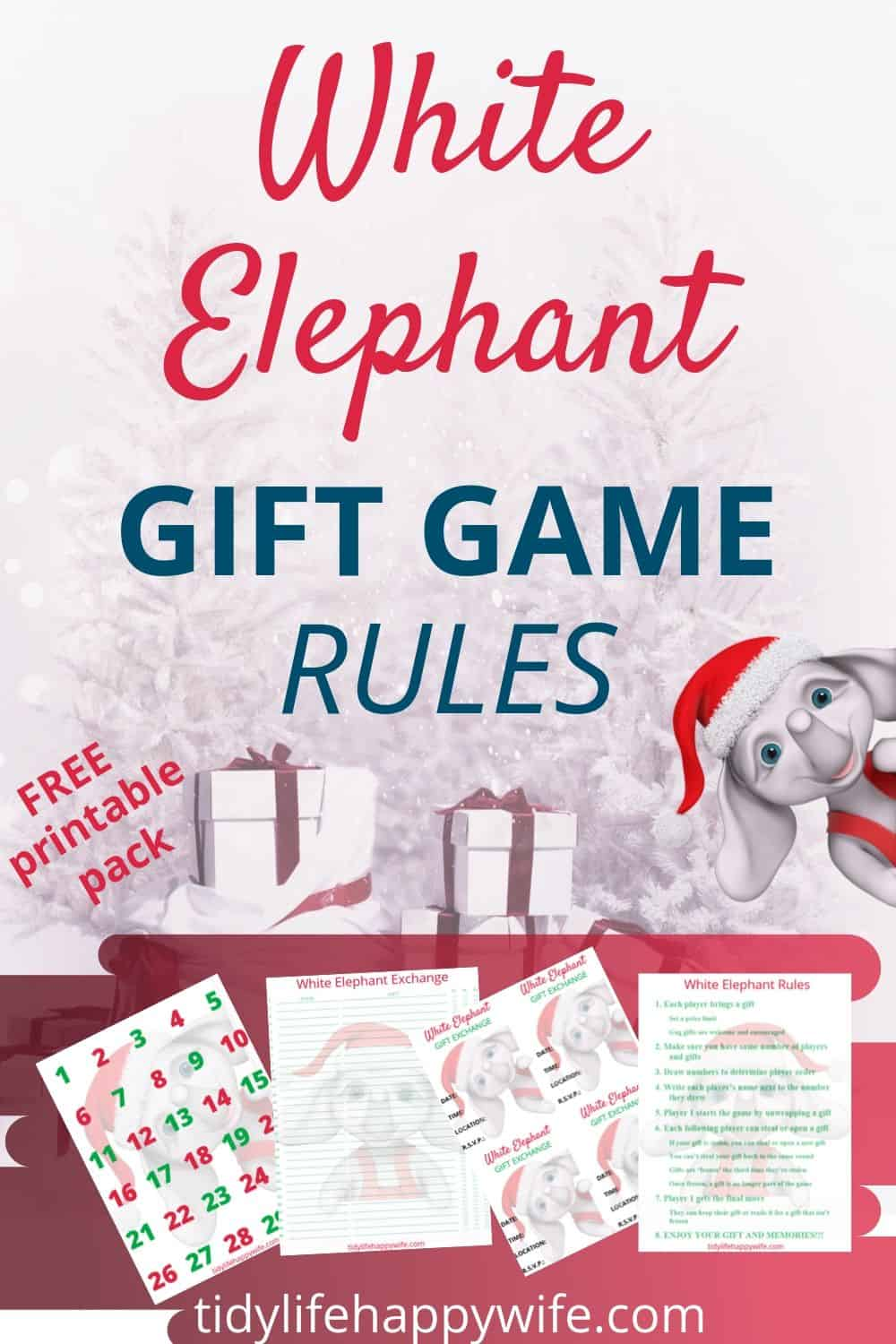 White elephant gift game rules printables