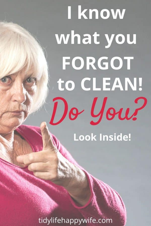 Lady pointing and saying 'I know what you forgot to clean. Do you?'