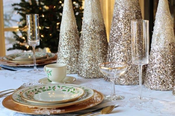 dining room table set for holiday company