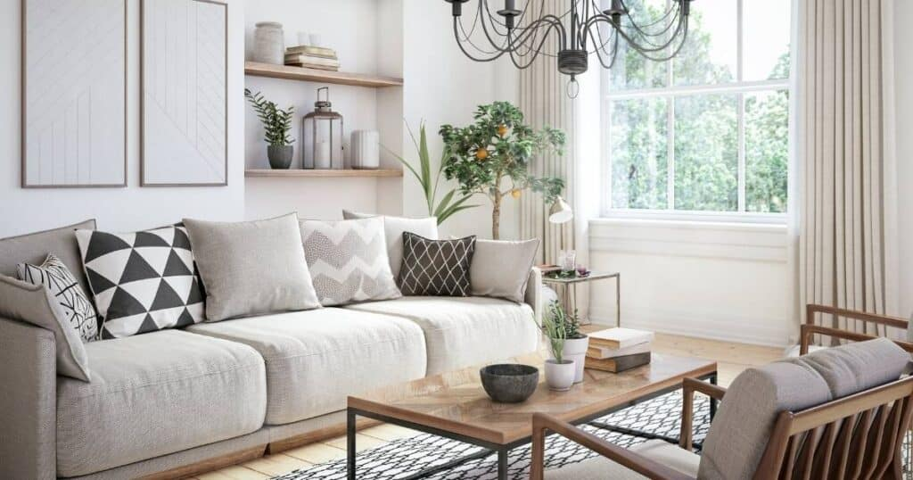 clean and tidy living room with white walls and light beige furniture