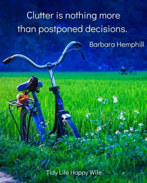 field of tall grass with an abandoned bicycle and the quote, Clutter is nothing more than postponed decisions. by Barbara Hemphill