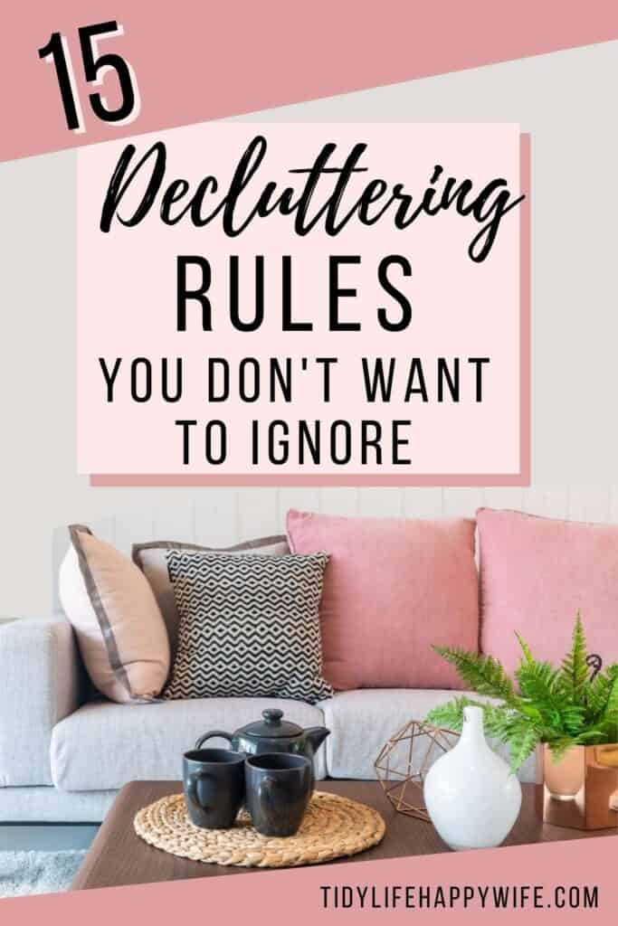 clutter-free living room from following the decluttering rules