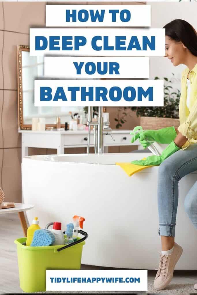 woman deep cleaning the bathtub
