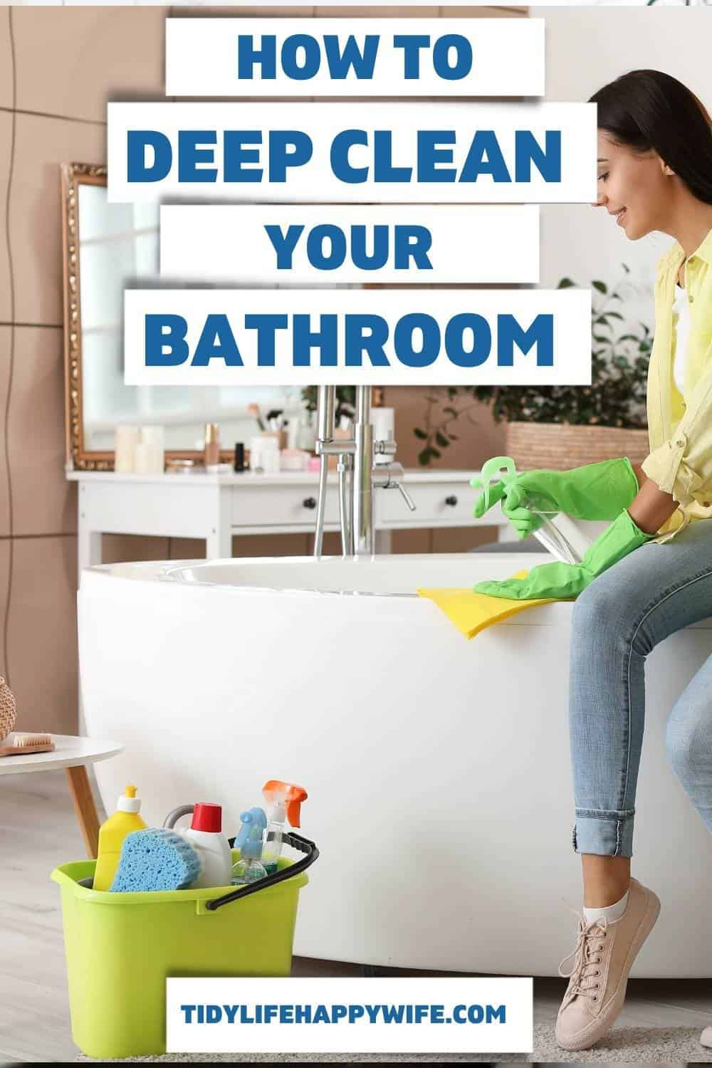 Smelly bathroom? It must be time to disinfect and deep clean your bathroom. Here's a step-by-step process to get your  bathroom sparkling clean in less than 60 minutes. Bathroom cleaning tips for your most stubborn stains and toughest messes. Bathroom cleaning hacks for those tricky spots. Get rid of that musty, urine smell and hard water buildup that makes your bathroom look and smell dirty. via @Tidylifehappywife
