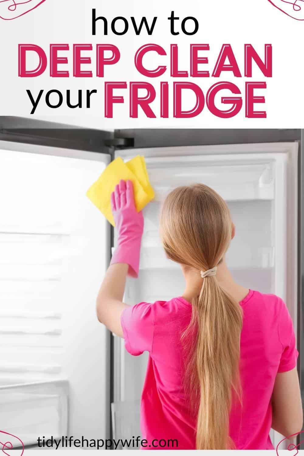 Stinky Fridge? Here's a step-by-step tutorial to deep clean the fridge. Cleaning tips for removing stubborn stains and getting rid of bad odors. How to clean the glass shelves and removable plastic dividers. Cleaning hacks for cleaning the crisper drawers, ice maker, and water dispenser. The best cleaning products for cleaning the refrigerator.  via @Tidylifehappywife