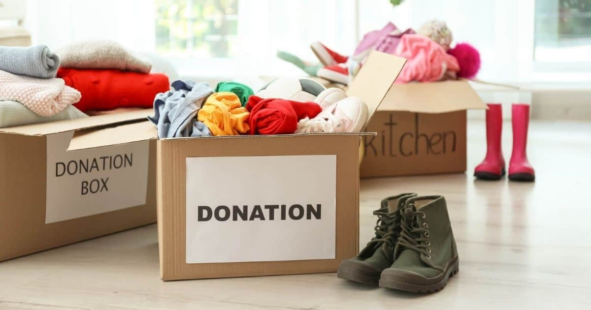 unwanted items in boxes to be donated