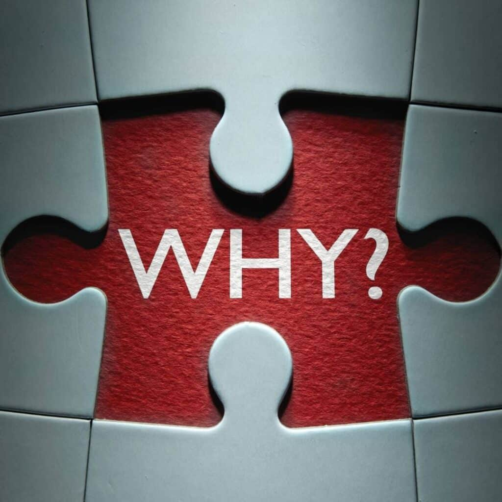 the word why written behind a missing puzzle piece