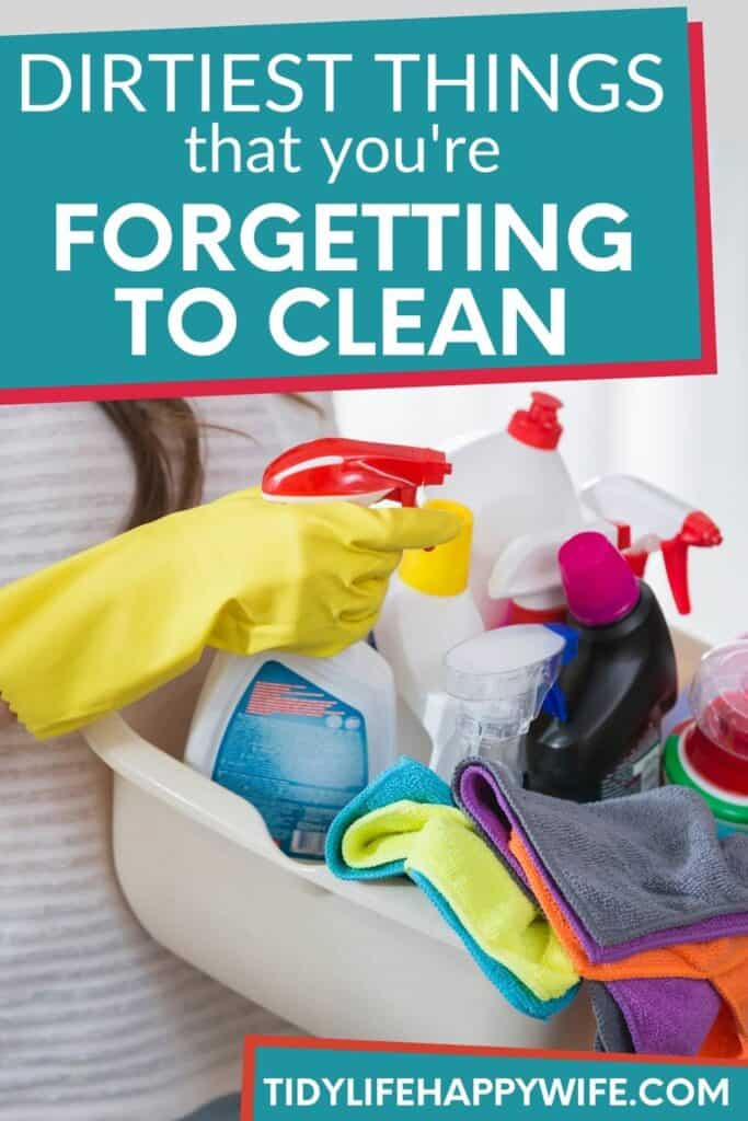 basket of cleaning supplies