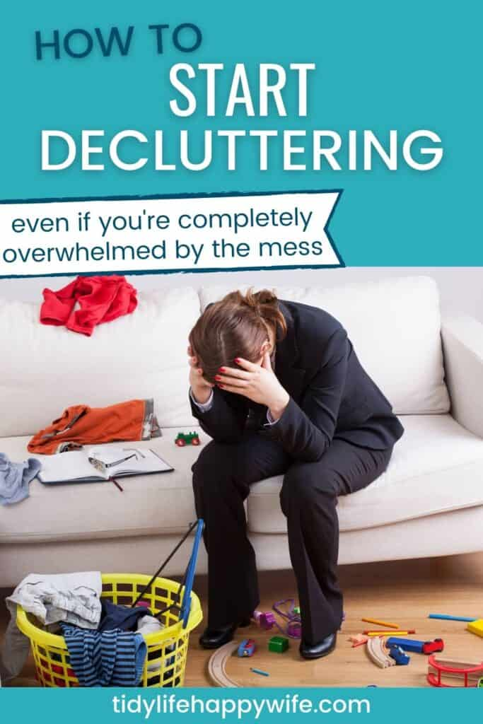 overwhelmed woman surrounded by clutter