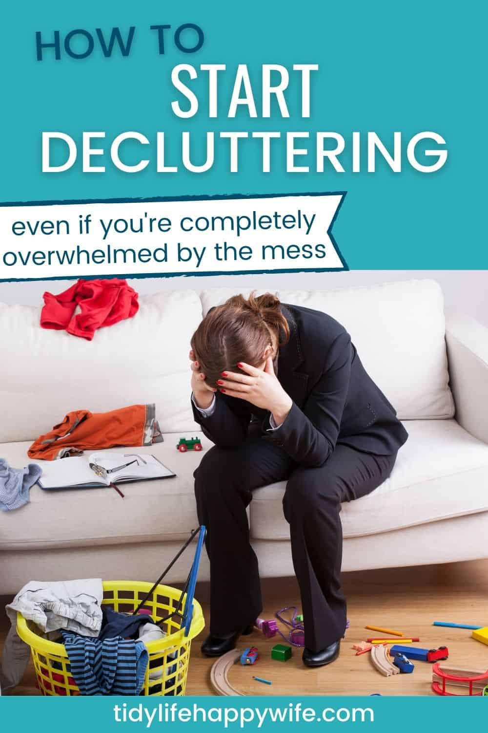Overwhelmed by the mess and can't figure out how to start decluttering? Try these tips for getting started. How to beat the overwhelm and clear your clutter. Try each decluttering idea and see which one works best for you. You'll be enjoying a clutter-free home in no time. via @Tidylifehappywife