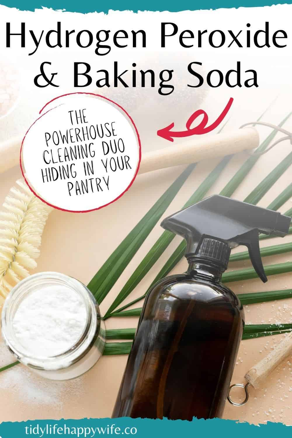 Need a tough cleaner for stubborn household messes? Try the powerful DIY duo of hydrogen peroxide and baking soda to knock out those nasty messes. Baked on grease, dirty grout, soap scum, laundry stains, and hard water buildup are no match for the DIY cleaning duo of hydrogen peroxide and baking soda. Natural, perfectly safe, and excellent cleaning power for the worst messes in your home. Discover what you can clean, and how to mix the perfect DIY cleaner. via @Tidylifehappywife